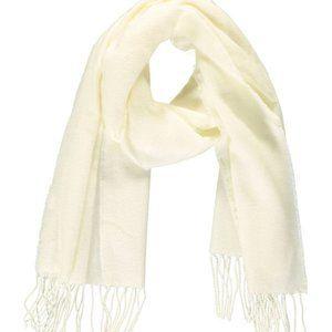 Accessories - Cream fringe-trim oblong scarf